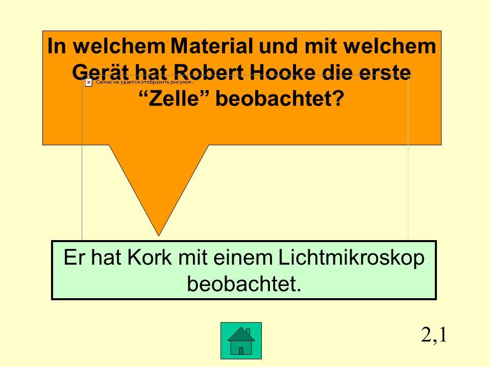 2,1 In welchem Material und mit welchem Gerät hat Robert Hooke die erste Zelle beobachtet.