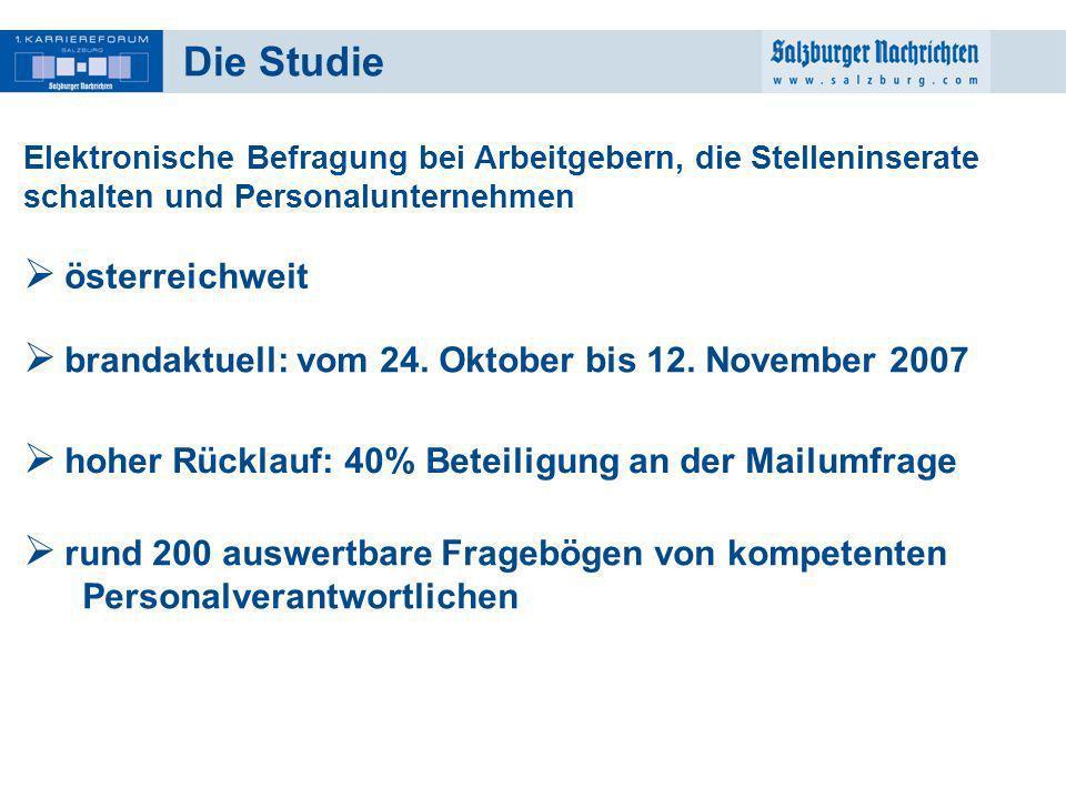 2 Die Studie Elektronische Befragung bei Arbeitgebern, die Stelleninserate schalten und Personalunternehmen österreichweit brandaktuell: vom 24. Oktob