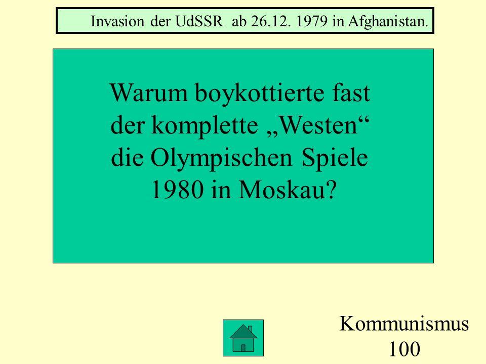 Kommunismus 100 Warum boykottierte fast der komplette Westen die Olympischen Spiele 1980 in Moskau.