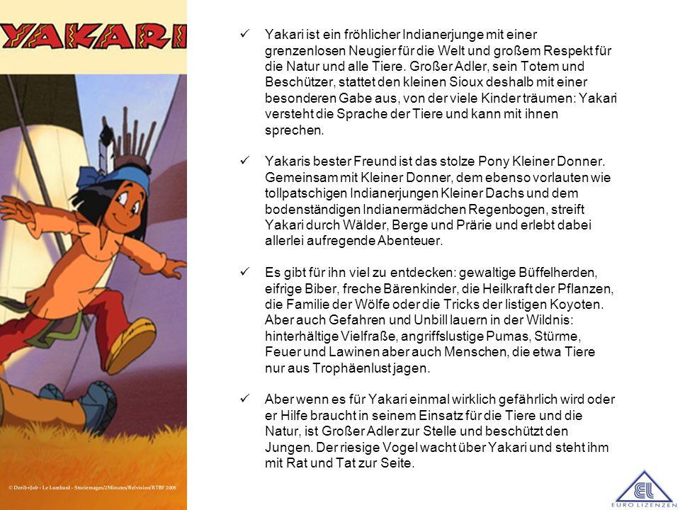 Yakari ist ein fröhlicher Indianerjunge mit einer grenzenlosen Neugier für die Welt und großem Respekt für die Natur und alle Tiere. Großer Adler, sei