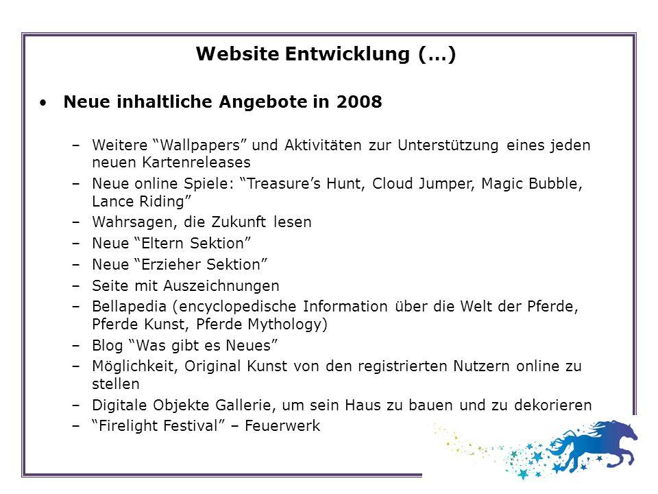 Website Entwicklung (…) Neue inhaltliche Angebote in 2008 –Weitere Wallpapers und Aktivitäten zur Unterstützung eines jeden neuen Kartenreleases –Neue
