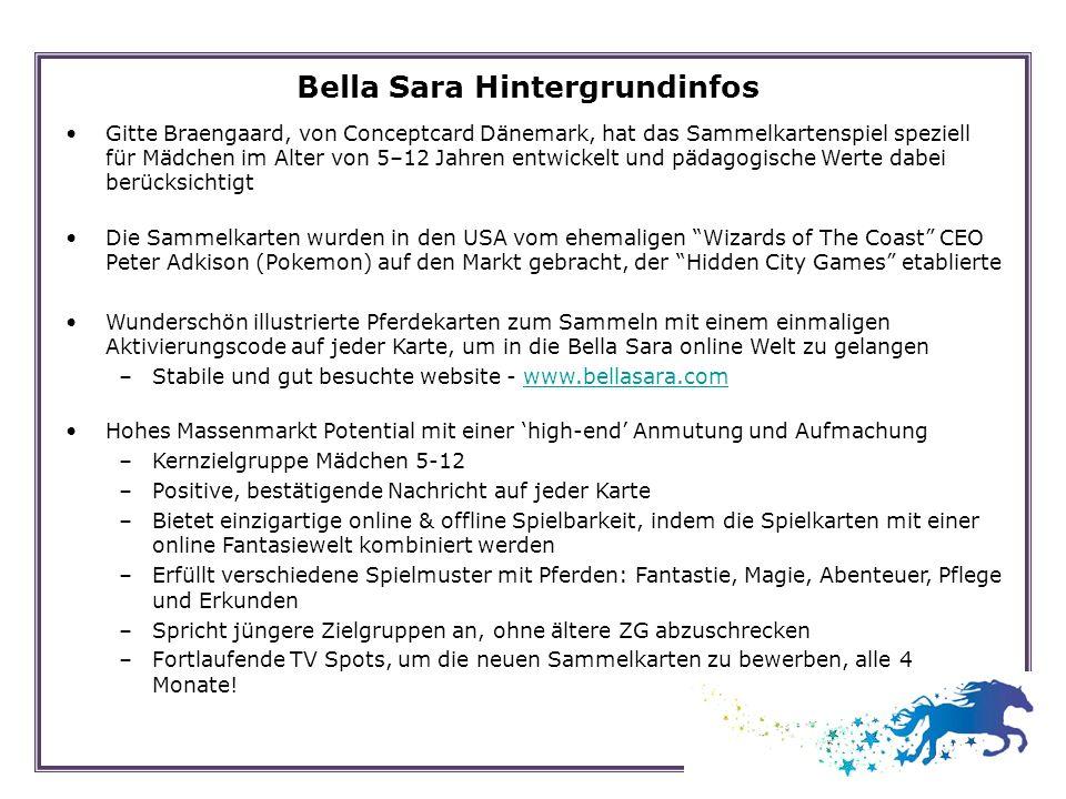 Bella Sara Hintergrundinfos Gitte Braengaard, von Conceptcard Dänemark, hat das Sammelkartenspiel speziell für Mädchen im Alter von 5–12 Jahren entwic