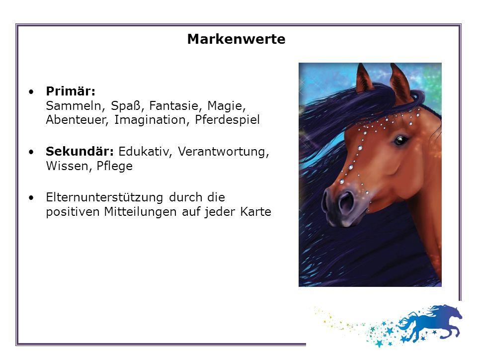 Markenwerte Primär: Sammeln, Spaß, Fantasie, Magie, Abenteuer, Imagination, Pferdespiel Sekundär: Edukativ, Verantwortung, Wissen, Pflege Elternunters