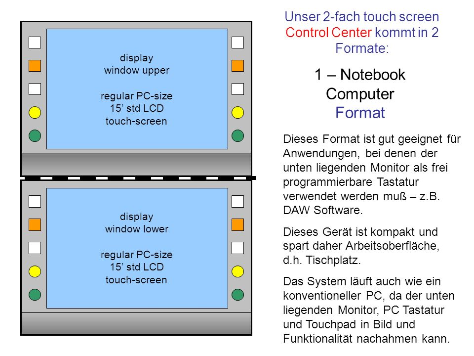 Unser 2-fach touch screen Control Center kommt in 2 Formate: display window upper regular PC-size 15 std LCD touch-screen display window lower regular