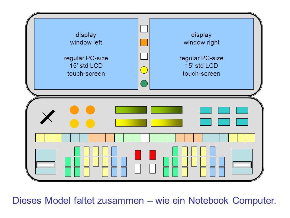 Dieses Model faltet zusammen – wie ein Notebook Computer. display window left regular PC-size 15 std LCD touch-screen display window right regular PC-