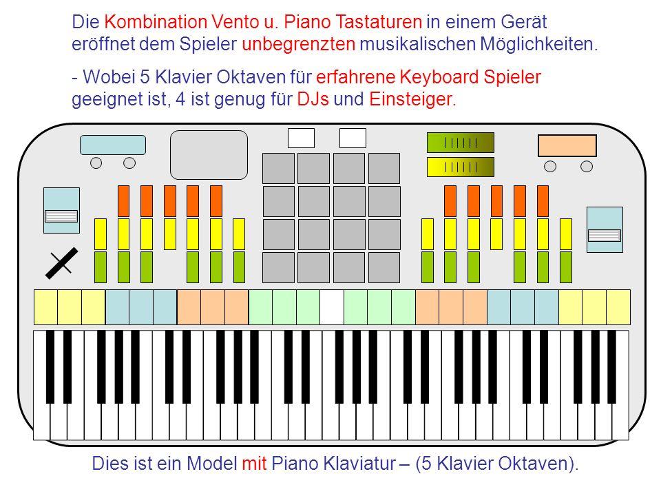 Dies ist ein Model mit Piano Klaviatur – (5 Klavier Oktaven). Die Kombination Vento u. Piano Tastaturen in einem Gerät eröffnet dem Spieler unbegrenzt