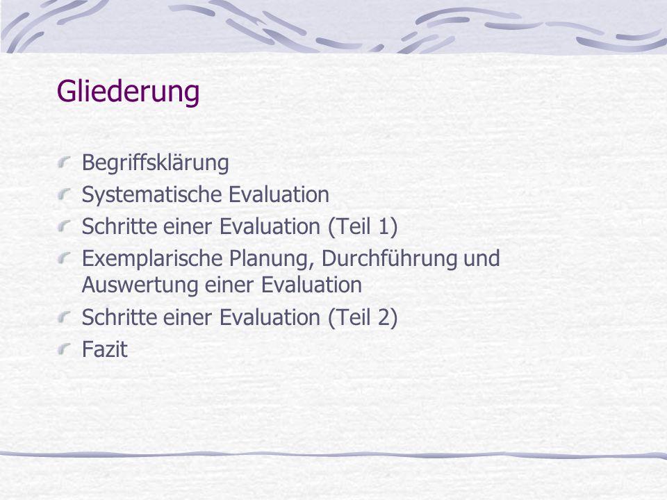 Begriffsklärung Systematische Evaluation Schritte einer Evaluation (Teil 1) Exemplarische Planung, Durchführung und Auswertung einer Evaluation Schrit
