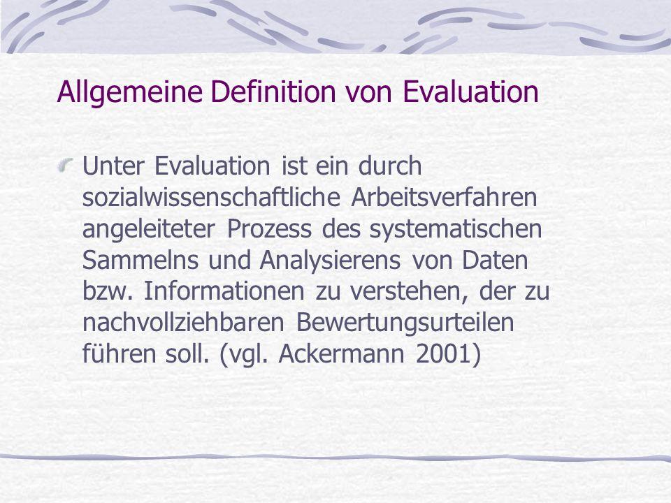 Allgemeine Definition von Evaluation Unter Evaluation ist ein durch sozialwissenschaftliche Arbeitsverfahren angeleiteter Prozess des systematischen S