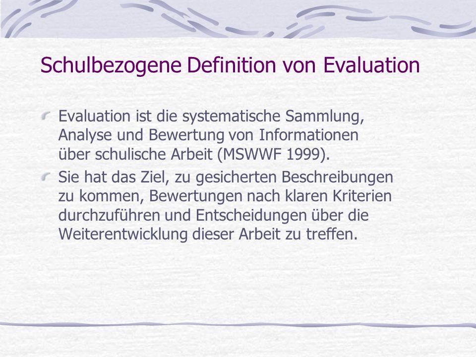 Schulbezogene Definition von Evaluation Evaluation ist die systematische Sammlung, Analyse und Bewertung von Informationen über schulische Arbeit (MSWWF 1999).