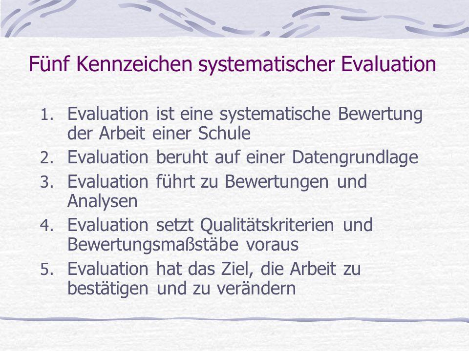 1. Evaluation ist eine systematische Bewertung der Arbeit einer Schule 2. Evaluation beruht auf einer Datengrundlage 3. Evaluation führt zu Bewertunge