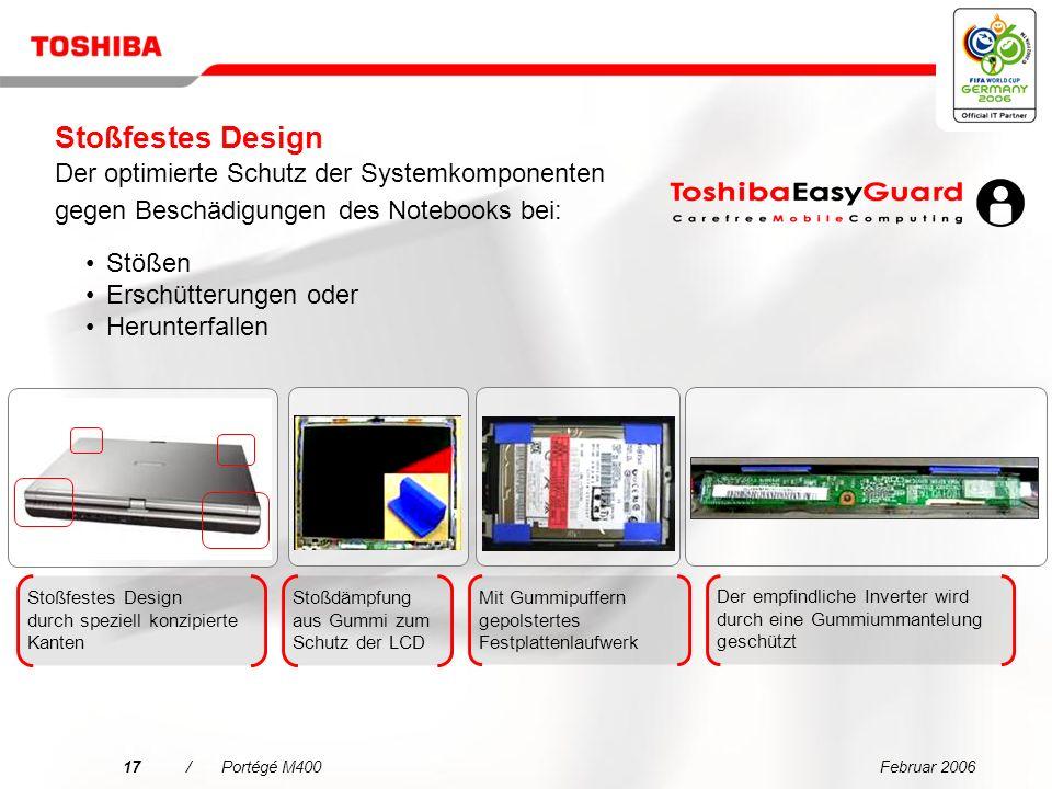 Februar 200616/Portégé M400 Toshiba Systemplatine mit Beschleunigungserfassung Kopf wird entlastet Längere Haltbarkeit der Festplatte Festplattenschutz (3D) Verhindert stoß- oder schwingungsbedingte Festplattenschäden durch dreidimensionale Bewegungsüberwachung Welchen Vorteil hat das.