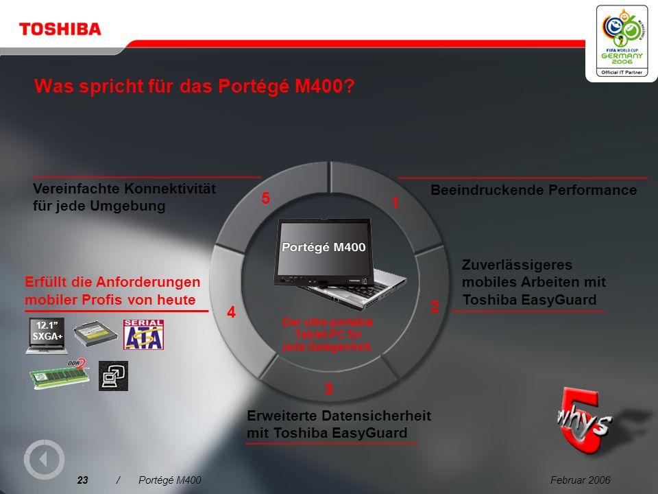 Februar 200622/Portégé M400 Trusted Platform Module (TPM) Kleiner sicherer Controller mit einem Sicherheitsmodul, das auf einem TCG-Industriestandard (Trusted Computing Group) basiert Haupt- prozessor Netzwerk TPM Welchen Vorteil hat das.