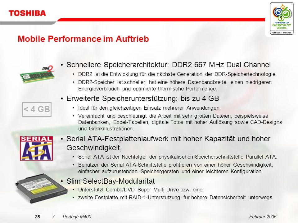 Februar 200624/Portégé M400 Erfüllt die Anforderungen mobiler Profis von heute Hoch auflösendes 12,1 SXGA+ Polysilizium-TFT-Display (1.400 x 1.050) Weltweit erster ultra-heller 12,1 SXGA+ Polysilizium-TFT-Farbbildschirm Eine besonders dünne Schutzplatte und das höhere dpi-Verhältnis (145 dpi), lassen einen stärkeren Lichteinfall bei gleichzeitig höherer Auflösung (1.400 x 1.050) zu Zweidimensionaler Beschleunigungsmesser System ermittelt jederzeit Lage und Bewegungen des Geräts Es kann eine bestimmte Aktion veranlasst werden, wenn der Bildschirm ruckartig nach links, rechts, vorwärts oder rückwärts gekippt wird Der Mauszeiger lässt sich bei einigen Anwendungen automatisch durch Neigen des Bildschirms in eine bestimmte Richtung bewegen Mehrfachfunktionstaste NetzschaltersperreESC/Rotationstaste Windows-Sicherheitstaste für Tablets