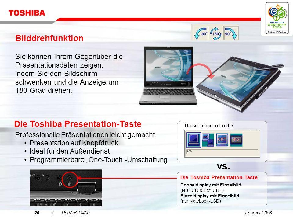Februar 200625/Portégé M400 Mobile Performance im Auftrieb Schnellere Speicherarchitektur: DDR2 667 MHz Dual Channel DDR2 ist die Entwicklung für die nächste Generation der DDR-Speichertechnologie.