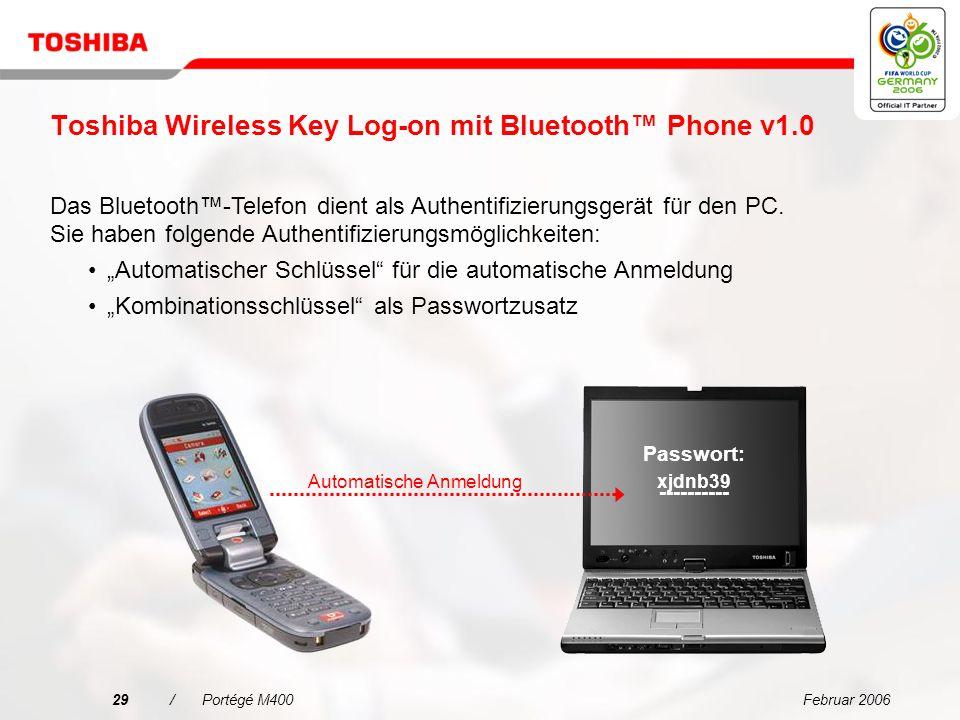 Februar 200628/Portégé M400 Vereinfachte Konnektivität für jede Umgebung Integriertes Mikrofon für VoIP Unternehmen können dank der Vorteile und des Produktivitätspotenzials der modernen VoIP-Technologie Kosten wirksam einsetzen und ihre Investitionen in eine vorhandene Voiceinfrastruktur maximieren.