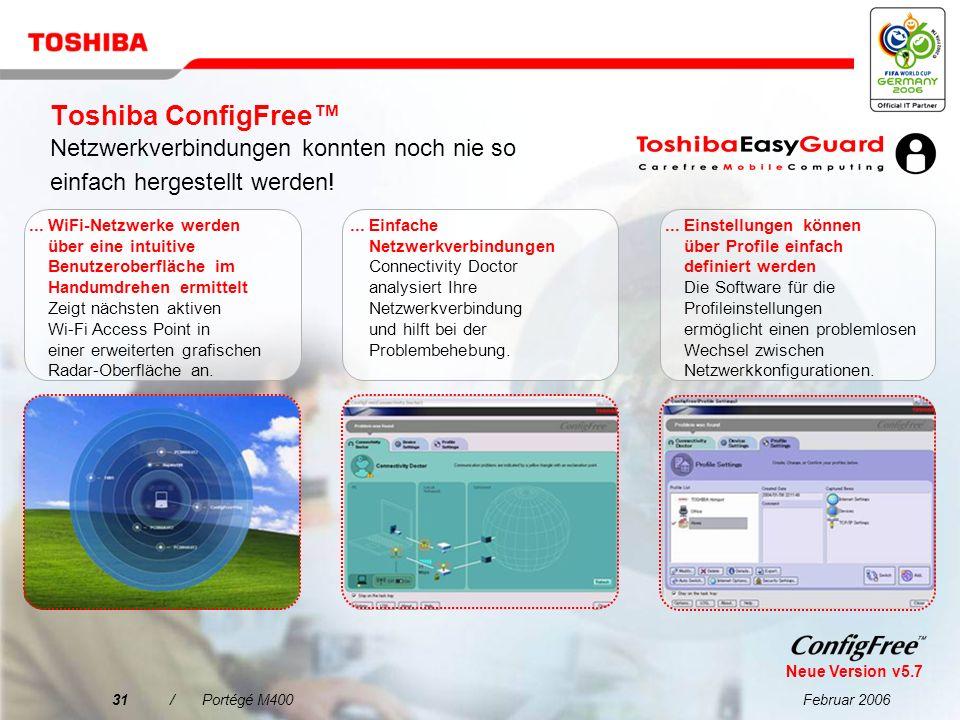 Februar 200630/Portégé M400 Vereinfachte Konnektivität, wo immer Sie sind PC Card- Steckplatz für 1 Type II Card USB 2.0-Anschlüsse 5-in-1 Bridge Media-Steckplatz (unterstützt SD Card, Memory Stick ®, Memory Stick Pro ®, xD-Picture Card, SD sowie IO Card) i.LINK ® (IEEE1394) Monitor-Anschluss (RGB)