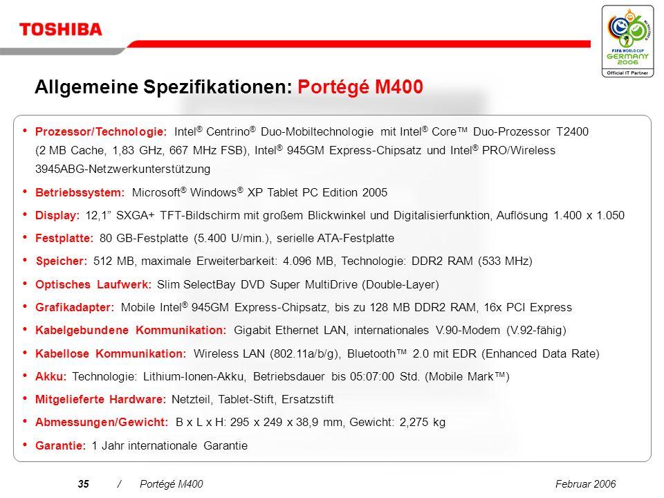 Februar 200634/Portégé M400 Neuer Toshiba Express Port Replicator Einfaches Andocken, weniger Kabelsalat Breite Palette an Schnittstellen für Peripheriegeräte und digitale Geräte.