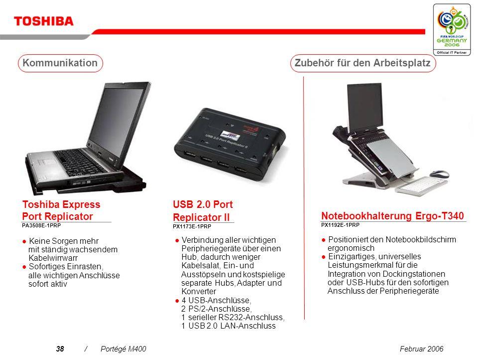 Februar 200637/Portégé M400 Zubehör für den Arbeitsplatz Optionen Kommunikation Tragebehälter Services Laufwerke Kommunikation Erweiterungen Versorgungsspannung Portégé M400