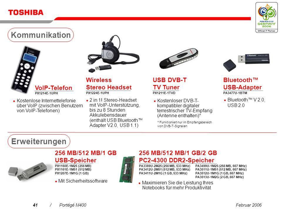 Februar 200640/Portégé M400 80 GB Mini-Festplattenlaufwerk PX1217E-1G08 Ultra-schlanker SelectBay HDD-Adapter PA3408U-2ETC 160/250/320 GB Festplatte PX1219E-1G16 (160 GB) PX1220E-1G25 (250 GB) PX1223E-1G32 (320 GB) Externe 3,5-Zoll-Festplatte, 7.200 U/min Externe 2,5-Zoll-Festplatte, 5.400 U/min Der wichtigste Adapter zum Einschieben einer zweiten, auswechselbaren Festplatte in das Notebook Multimedia Center – Gigastore 250 GB PA3392E-1MPS Externe 3,5-Zoll-Festplatte mit PushButton Backup, 7.200 U/min Laufwerke 80/100 GB HDD PA3407U-2H80 (80 GB) PA3430U-2HA0 (100 GB) 5.400 U/min, Serial ATA- Schnittstelle Ultra-schlankes SelectBay DVD SuperMulti-Laufwerk PA3473E-1DV6 Archivieren großer Dateien, Brennen von CDs/DVDs und Wiedergeben von Filmen auf DVD unterwegs