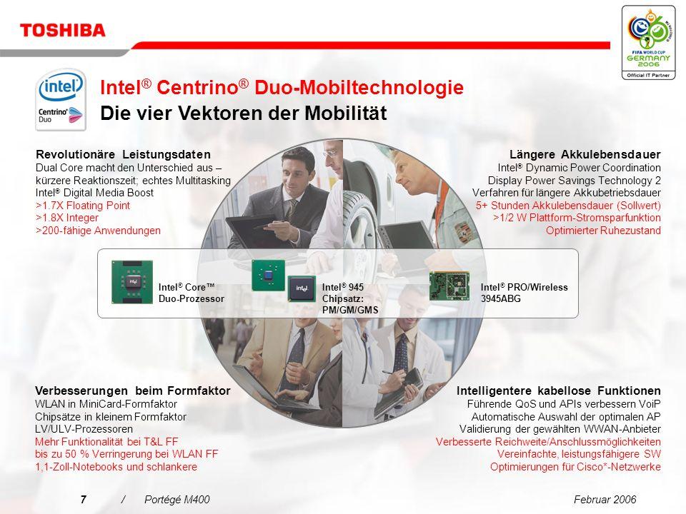 Februar 20066/Portégé M400 Geschäftlicher Erfolg und Wachstum hängen von engagierten Mitarbeitern ab, die als Team zusammenarbeiten und schnell auf Kundenwünsche reagieren.