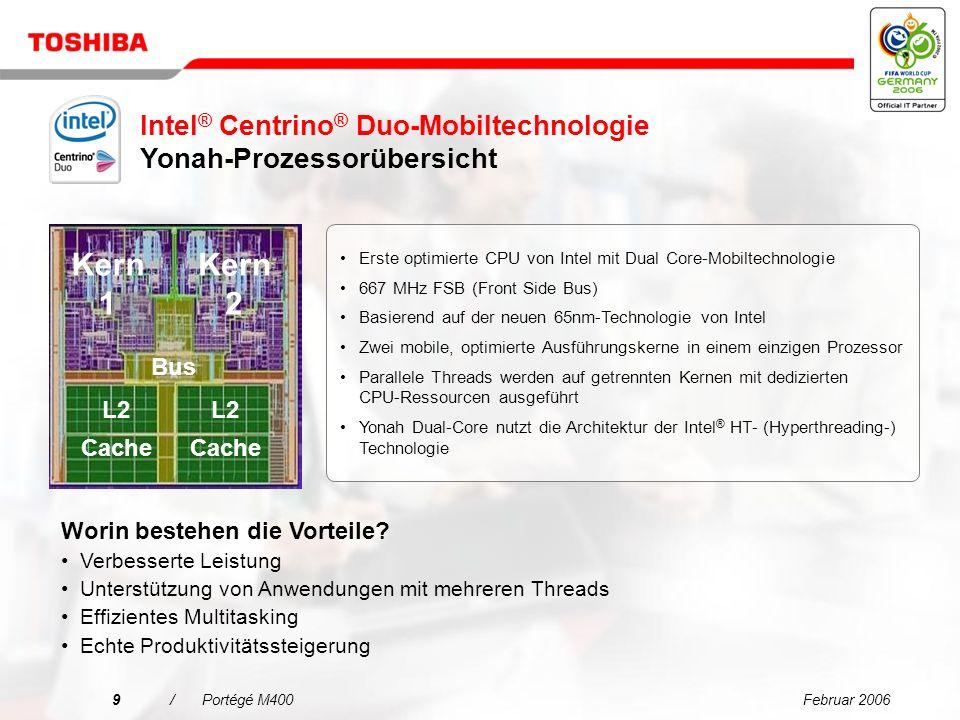 Februar 20068/Portégé M400 CRT LPC SIO/EC Azalia/ AC 97 8 Anschlüsse Eigenständig Gfx TPM 1.2 LPC Golan WLAN DDRII SO-DIMM LVDS Flachbildschirm ExpressCard* Docking ICH7M PATA Calistoga x2 x1 2 Anschlüsse 1 Anschluss PCIE x16 Fernseher GbE SPI Flash FSB 667 MHz DDR II 667 MHz DMI x4 6 PCIE- Anschlüsse Grafikspeicher, E/A-Controller –Hauptspeicher: 4 + 2 GB max.