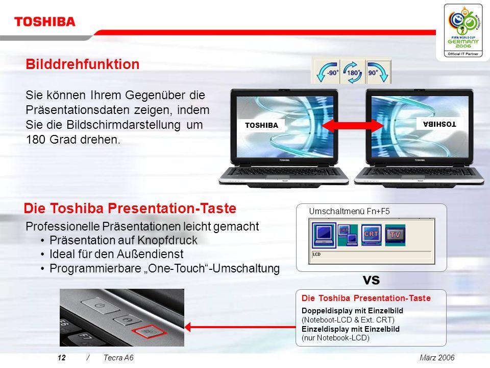 März 200611/Tecra A6 Brillantes Display und ausgezeichnete Grafiken für gesteigerte Produktivität Das außergewöhnliche 14 WXGA TFT- Breitformatdisplay bietet eine größere Anzeigefläche zum Arbeiten.