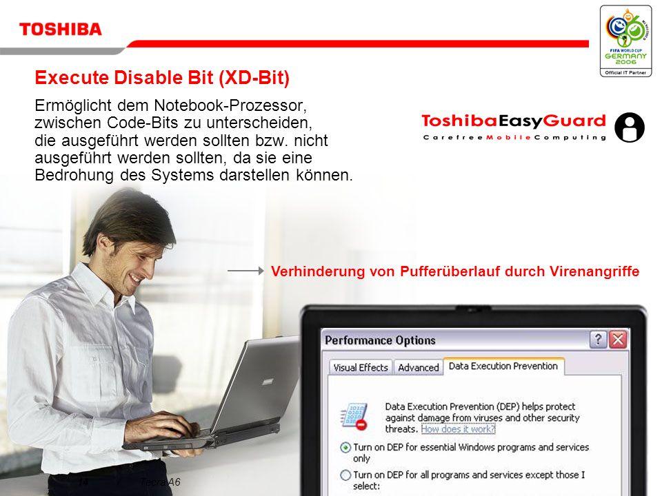 März 200613/Tecra A6 Entscheidungsmerkmale für den Tecra A6 1 2 3 4 5 Das ideale Notebook für den anspruchsvollen Profi Brillantes Display und ausgezeichnete Grafiken für gesteigerte Produktivität Innovative Toshiba EasyGuard-Technologien für mehr Zuverlässigkeit und Sicherheit Alles in einem Paket Herausragende Performance für den geschäftlichen Einsatz mit schlankem, leichtem Design Einfache Konnektivität dank Toshiba EasyGuard
