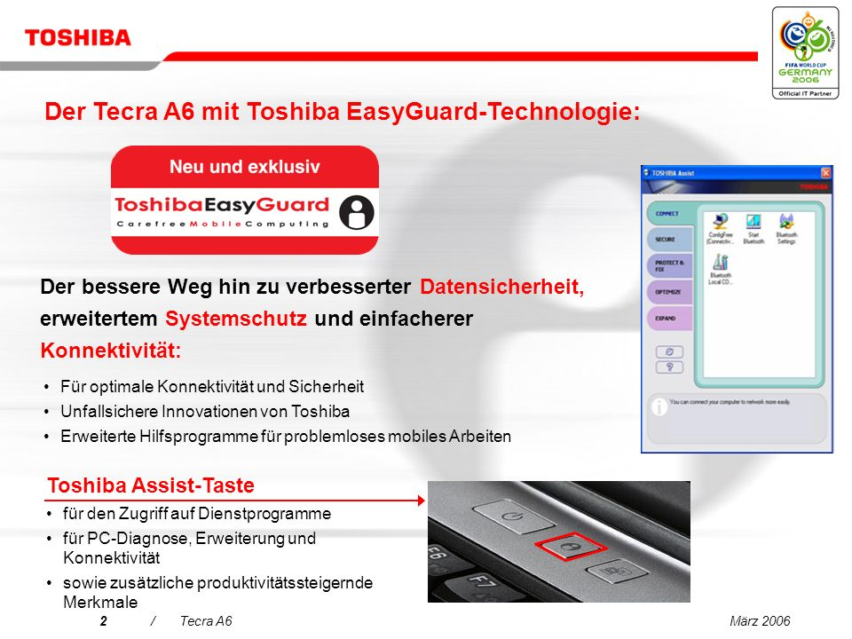 März 20062/Tecra A6 Der bessere Weg hin zu verbesserter Datensicherheit, erweitertem Systemschutz und einfacherer Konnektivität: Toshiba Assist-Taste für den Zugriff auf Dienstprogramme für PC-Diagnose, Erweiterung und Konnektivität sowie zusätzliche produktivitätssteigernde Merkmale Für optimale Konnektivität und Sicherheit Unfallsichere Innovationen von Toshiba Erweiterte Hilfsprogramme für problemloses mobiles Arbeiten Der Tecra A6 mit Toshiba EasyGuard-Technologie: