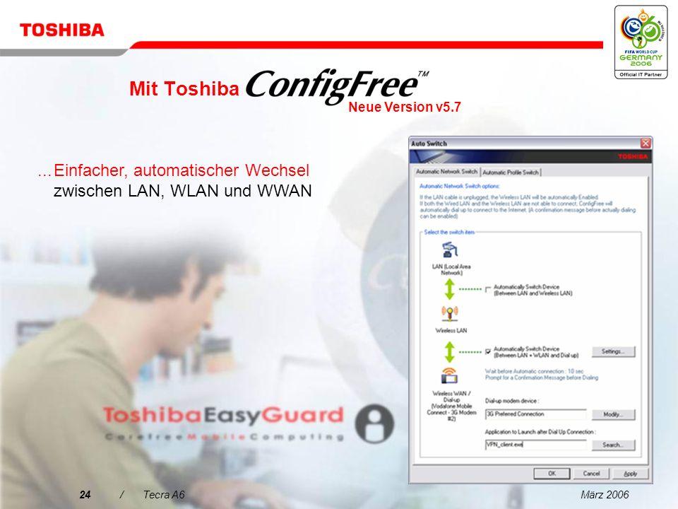 März 200623/Tecra A6 Mit Toshiba...Einstellungen können über Profile einfach definiert werden Neue Version v5.7