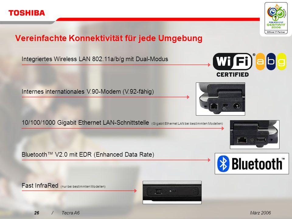 März 200625/Tecra A6 Mit Toshiba Summit Effiziente kabellose Konferenzfunktionen …Intuitiver Einsatz virtueller Konferenzraum …Erweiterte Oberfläche für die Dateifreigabe Teilnehmer werden im Kreis als Symbol dargestellt …Praktisch und benutzerfreundlich Dateiaufruf per Drag & Drop …Schnell und einfach Funktion für schnelle Freigabe per Drag & Drop über das Symbol Wireless Radar