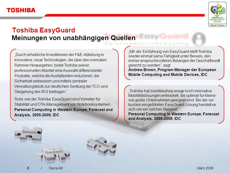 März 20062/Tecra A6 Der bessere Weg hin zu verbesserter Datensicherheit, erweitertem Systemschutz und einfacherer Konnektivität: Toshiba Assist-Taste