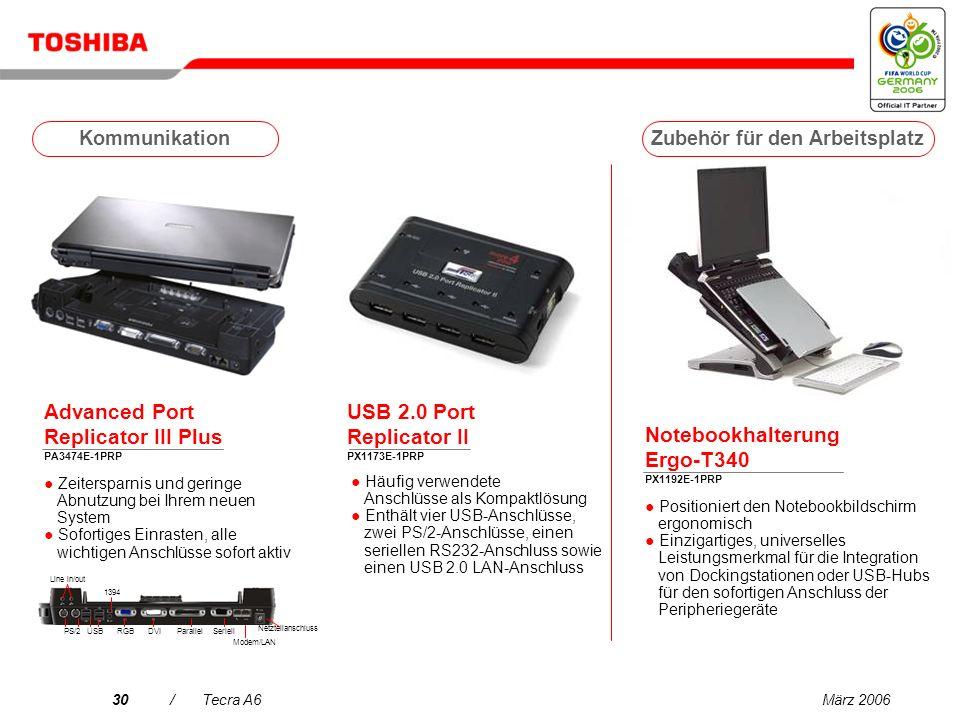 März 200629/Tecra A6 Zubehör für den Arbeitsplatz Kommunikation Tragetaschen Services Laufwerke Kommunikation Erweiterung Versorgungsspannung Tecra A6