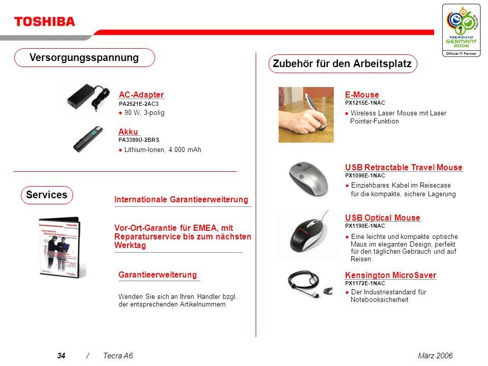 März 200633/Tecra A6 USB DVB-T TV Tuner PX1211E-1TVD Kostenloser DVB-T- kompatibler digitaler terrestrischer TV-Empfang (Antenne enthalten)* Wireless Stereo Headset PX1224E-1UPH 2 in 1.