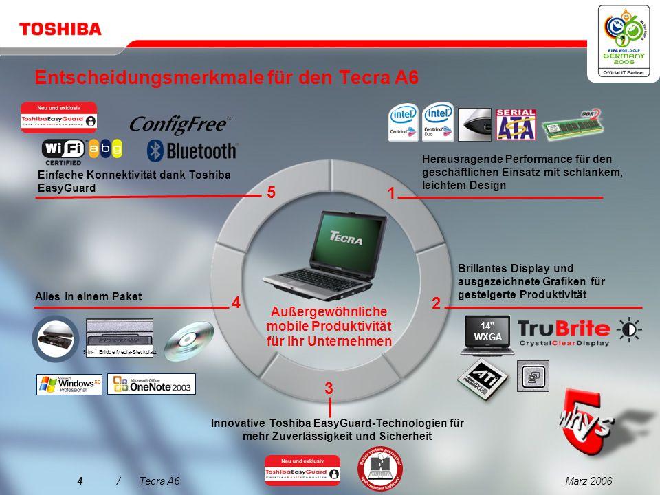 März 20063/Tecra A6 Toshiba hat zweifelsohne einige hoch innovative Mobilitätslösungen entwickelt, die optimal für kleine wie große Unternehmen geeignet sind.
