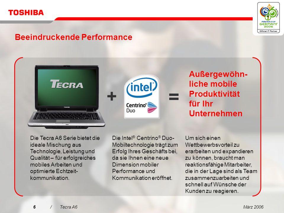 März 20065/Tecra A6 Entscheidungsmerkmale für den Tecra A6 1 2 3 4 5 Außergewöhnliche mobile Produktivität für Ihr Unternehmen Brillantes Display und ausgezeichnete Grafiken für gesteigerte Produktivität Innovative Toshiba EasyGuard-Technologien für mehr Zuverlässigkeit und Sicherheit Alles in einem Paket Herausragende Performance für den geschäftlichen Einsatz mit schlankem, leichtem Design Einfache Konnektivität dank Toshiba EasyGuard