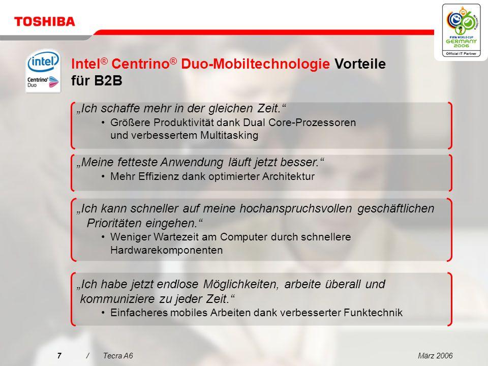 März 200627/Tecra A6 Prozessor/Technologie: Intel ® Centrino ® -Mobiltechnologie mit Intel ® Core Solo-Prozessor T1300 (2 MB Cache, 1,66 GHz, 667 MHz FSB), Intel ® 945PM Express-Chipsatz und Intel ® PRO/Wireless 3945ABG-Netzwerkunterstützung Betriebssystem: Microsoft ® Windows ® XP Professional Display: 14 WXGA TFT-Display (1.280 x 800 Bildpunkte) Festplatte: 100 GB (5.400 U/min.), serielle ATA-Festplatte Speicher: 512 MB, maximale Erweiterbarkeit: 4 GB, Technik: DDR2 RAM (533 MHz) Optisches Laufwerk: DVD Super MultiDrive (Double Layer) Grafikadapter: Mobile Intel ® 945GM Express-Chipsatz, bis zu 128 MB RAM, 16 x PCI Express Kabelgebundene Kommunikation: Ethernet LAN, internationales V.90-Modem (V.92-fähig) Kabellose Kommunikation: Wireless LAN (802.11a/b/g), Bluetooth 2.0 mit EDR (Enhanced Data Rate) Akku: Technologie: Lithium-Ionen-Akku, Betriebsdauer bis 5:41 Std.