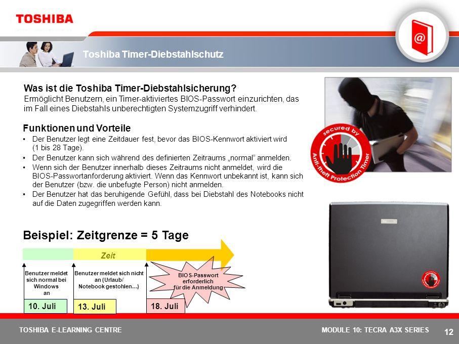 11 TOSHIBA E-LEARNING CENTREMODULE 10: TECRA A3X SERIES Toshiba EasyGuard – Funktionen und Vorteile Toshiba ConfigFree Von Toshiba entwickelte Softwar