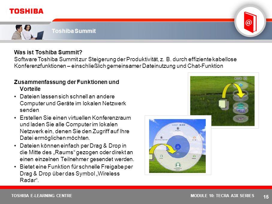 14 TOSHIBA E-LEARNING CENTREMODULE 10: TECRA A3X SERIES Automatische W-WAN-Verbindung Stellt eine automatische DFÜ- Verbindung über eine Mobile Data /