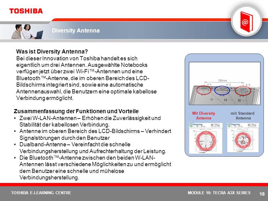15 TOSHIBA E-LEARNING CENTREMODULE 10: TECRA A3X SERIES Toshiba Summit Zusammenfassung der Funktionen und Vorteile Dateien lassen sich schnell an ande