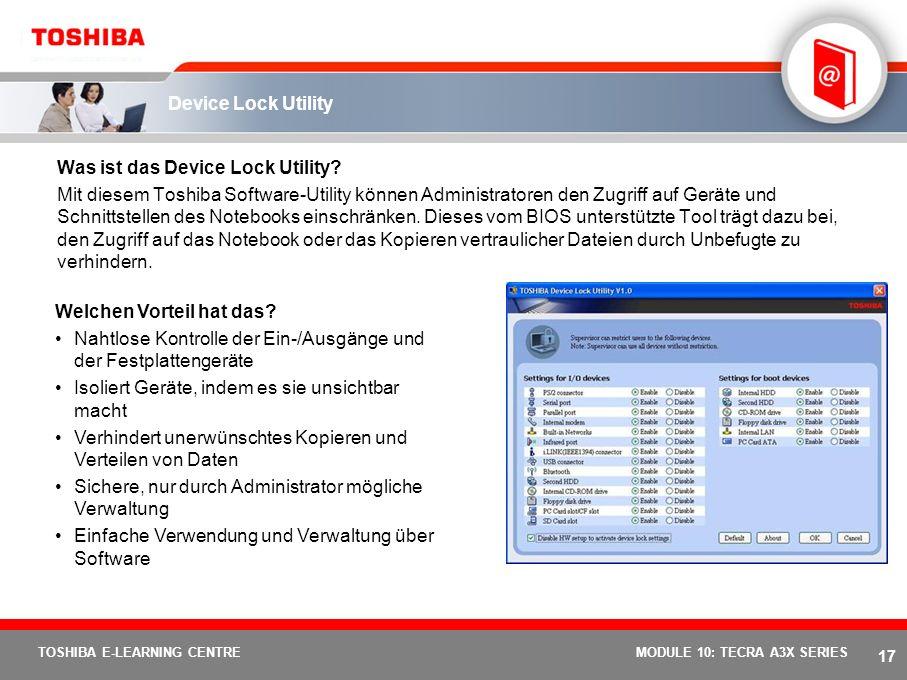 16 TOSHIBA E-LEARNING CENTREMODULE 10: TECRA A3X SERIES Diversity Antenna Was ist Diversity Antenna? Bei dieser Innovation von Toshiba handelt es sich
