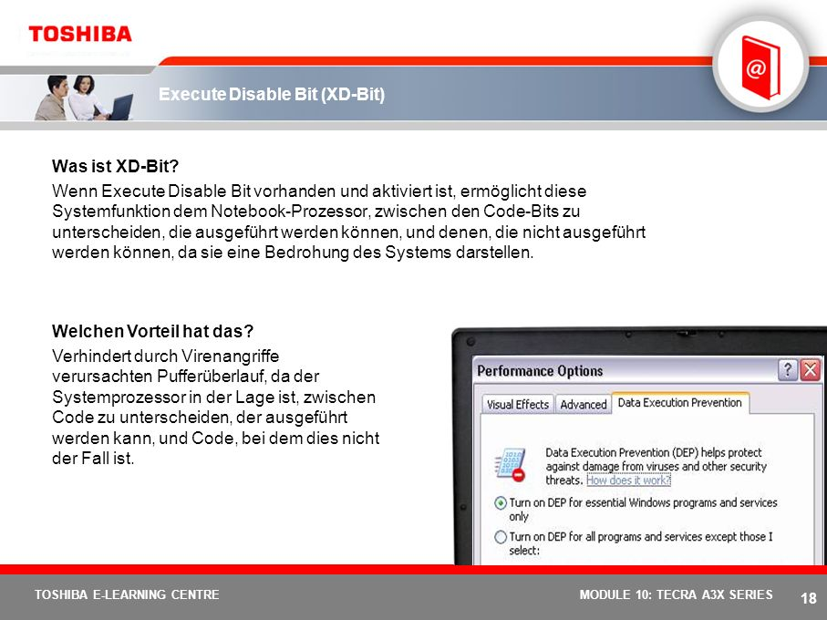17 TOSHIBA E-LEARNING CENTREMODULE 10: TECRA A3X SERIES Device Lock Utility Was ist das Device Lock Utility.