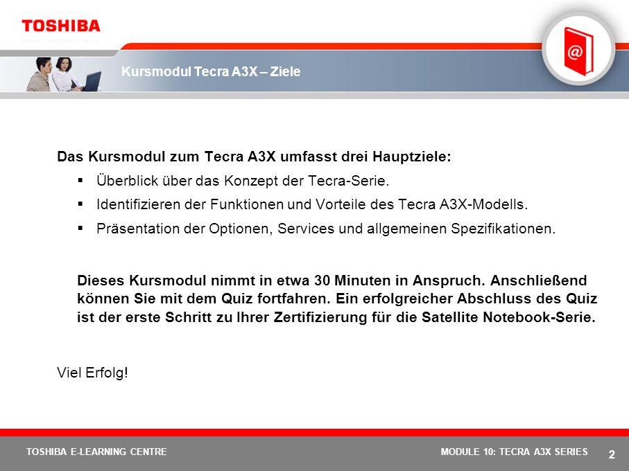 TOSHIBA E-LEARNING CENTRE Tecra Serie – Kurs Modul 10 Der Tecra A3X MODULE 10: TECRA A3X SERIES 1