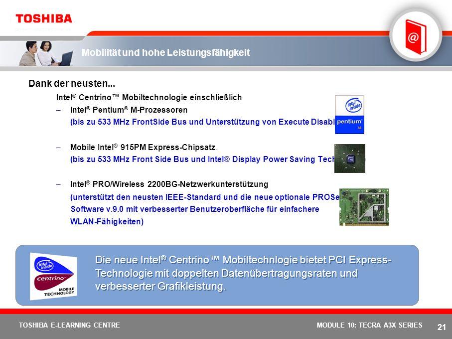 20 TOSHIBA E-LEARNING CENTREMODULE 10: TECRA A3X SERIES Paket mit vielen Funktionen Selten bot ein Notebook-Einsteigermodell für den professionellen E