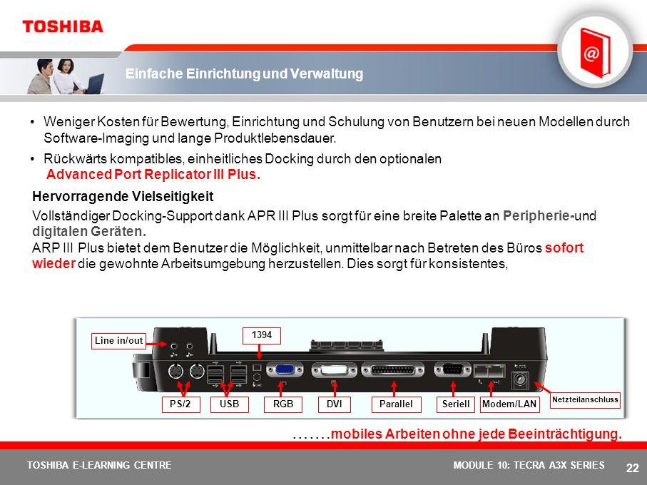 21 TOSHIBA E-LEARNING CENTREMODULE 10: TECRA A3X SERIES Mobilität und hohe Leistungsfähigkeit Dank der neusten... Intel ® Centrino Mobiltechnologie ei