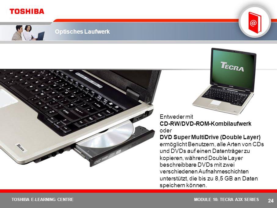 23 TOSHIBA E-LEARNING CENTREMODULE 10: TECRA A3X SERIES Optimiertes Multimediaerlebnis 15 XGA oder SXGA+ 15 XGA- (1.024 x 768 Bildpunkte) und SXGA+- (