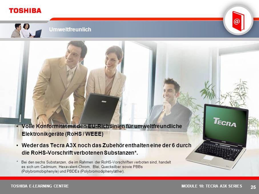 24 TOSHIBA E-LEARNING CENTREMODULE 10: TECRA A3X SERIES Optisches Laufwerk Entweder mit CD-RW/DVD-ROM-Kombilaufwerk oder DVD Super MultiDrive (Double