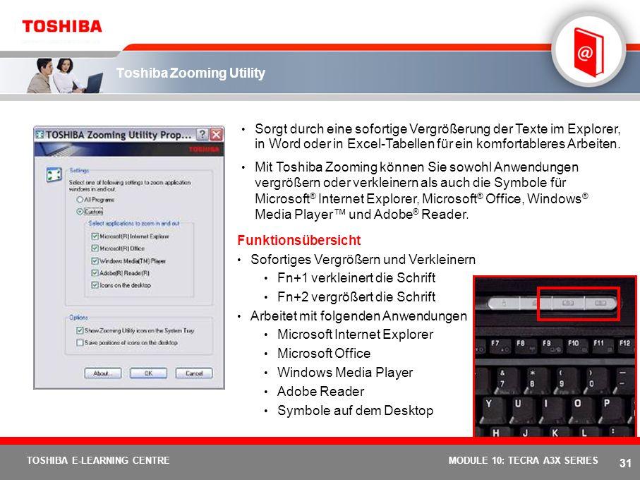 30 TOSHIBA E-LEARNING CENTREMODULE 10: TECRA A3X SERIES Toshiba Power Saver Utility Dieser Indikator zeigt den Leistungsstandard Ihres PCs an: die opt