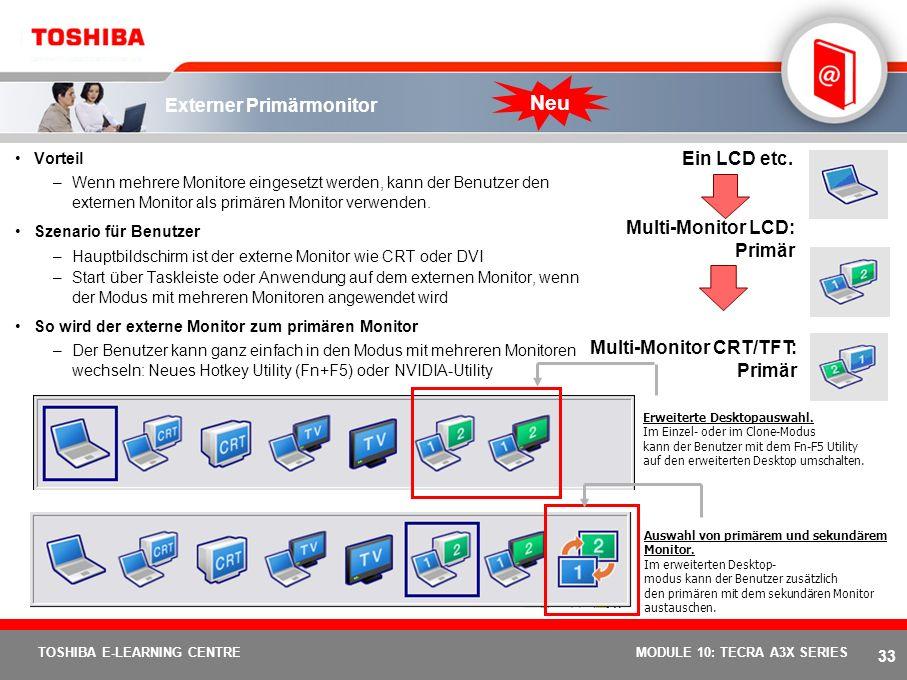 32 TOSHIBA E-LEARNING CENTREMODULE 10: TECRA A3X SERIES Die Toshiba Presentation-Taste Präsentationen leicht gemacht Präsentation auf Knopfdruck Ideal