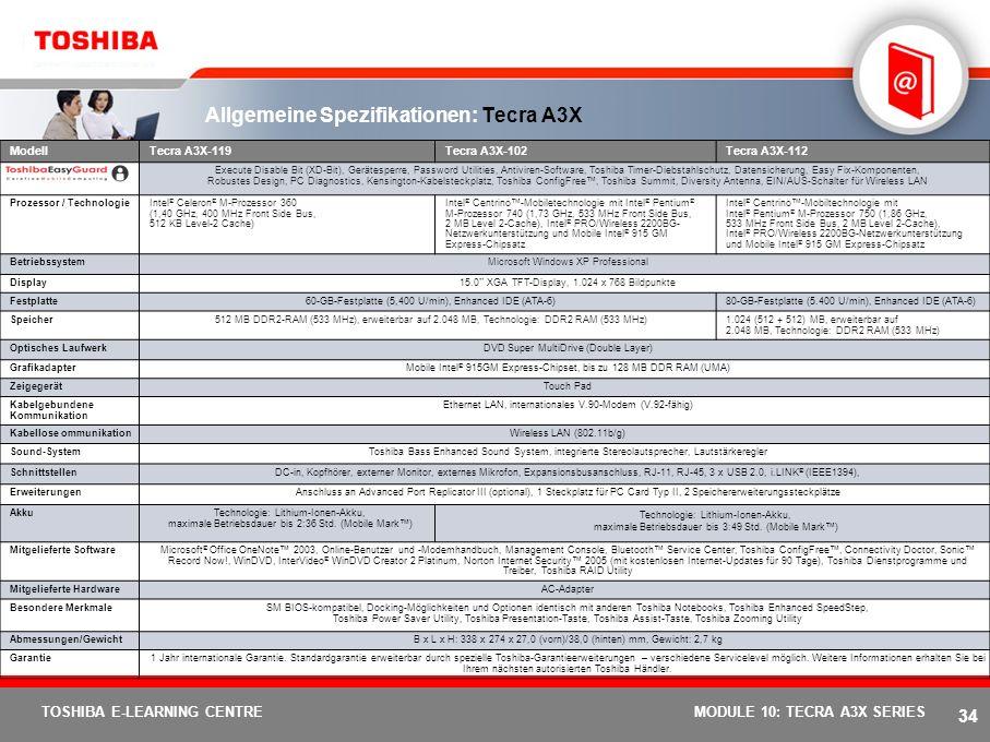 33 TOSHIBA E-LEARNING CENTREMODULE 10: TECRA A3X SERIES Externer Primärmonitor Neu Erweiterte Desktopauswahl. Im Einzel- oder im Clone-Modus kann der