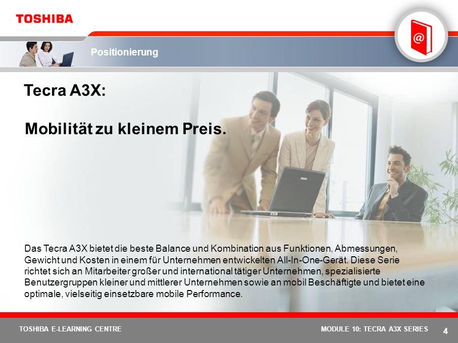 3 TOSHIBA E-LEARNING CENTREMODULE 10: TECRA A3X SERIES Notebook- und AV Notebook/PC-Segmente: Nutzungsprofil/Leistung Preis Qosmio G20 Qosmio F20Qosmi